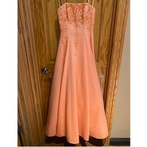 Coral Sequin Prom Dress